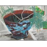 flower pot with carnation branches