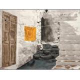 hanging yellow towel