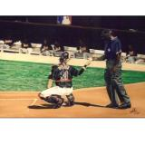 mike piazza receiving a new ball from the umpire
