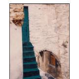 green steps to door